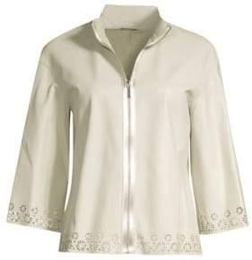 adecfca563e ... Elie Tahari Women s Rainer Eyelet Lace-Trim Leather Jacket - Sandstorm  - Size XS