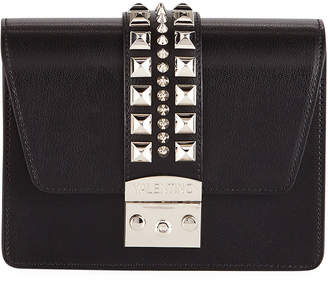Mario Valentino Valentino By Benedicte Madras Studded Leather Flap Top Bag