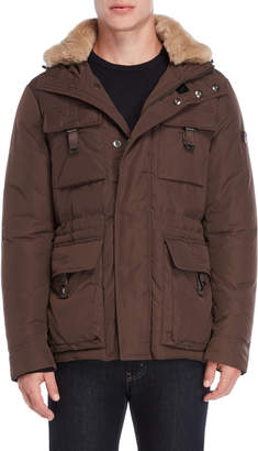 Peuterey Real Fur Collar Buckle Pocket Down Coat
