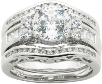 FINE JEWELRY 100 Facets by DiamonArt Cubic Zirconia Sterling Silver 3-Ring Bridal Ring Set $187.49 thestylecure.com