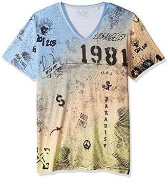 GUESS Men's Asicshort Sleeve BSC Graffiti Print V Neck Tee