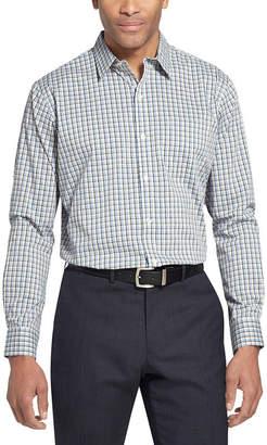 Van Heusen Traveler Long Sleeve Slim Stretch Shirt Long Sleeve Plaid Button-Front Shirt-Slim
