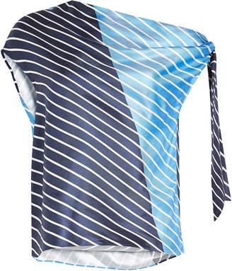 Tibi Delphina Striped Silk Top