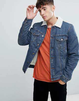 ONLY & SONS denim jacket with full fleece lining