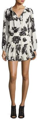 MISA Los Angeles Lorena Split-Neck Floral-Print Mini Dress