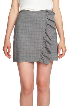 1 STATE 1.STATE Glen Plaid Ruffle Plaid Miniskirt