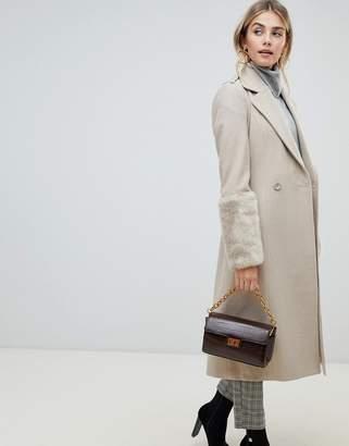 Fashion Union Wrap Coat With Faux Fur Cuffs