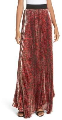 Alice + Olivia Katz Shimmer Pleat Silk Blend Maxi Skirt