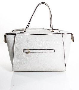 CelineCeline White Pebbled Leather Small Ring Satchel Handbag