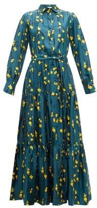 La DoubleJ Bellini Floral Print Silk Twill Tiered Shirt Dress - Womens - Green Print