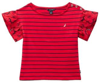 Nautica Flutter Eyelet Sleeve Striped Tee (Big Girls)
