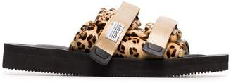 Suicoke Leopard Print Sheep Skin and Calf Hair Sandals