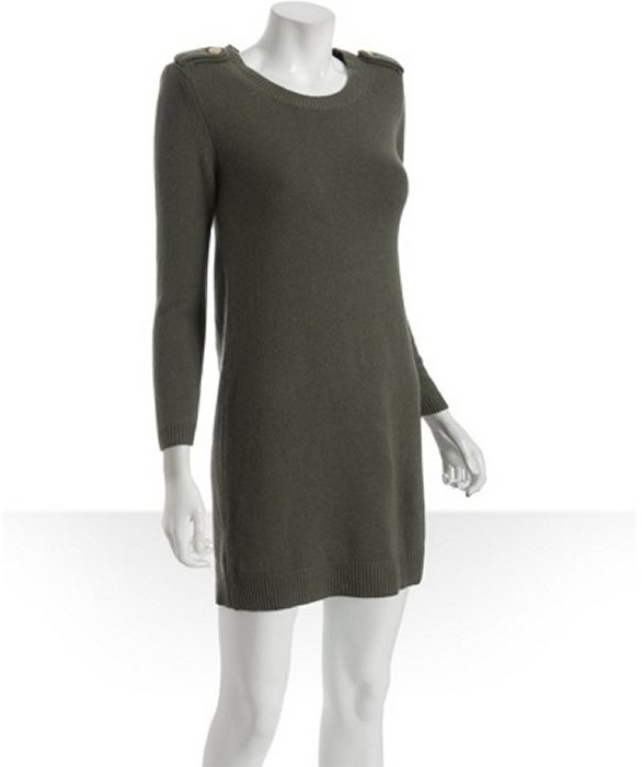 Theory olive cashmere 'Ebelle' shoulder detail dress