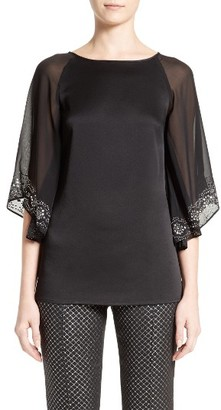 Women's St. John Collection Embellished Luxe Satin Crepe & Chiffon Top $695 thestylecure.com