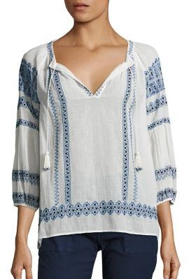 Joie Gauge Embroidered Cotton Gauze Blouse $278 thestylecure.com