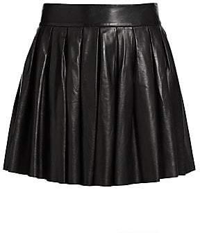 Alice + Olivia Women's Pleated Leather Mini Skirt