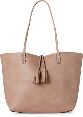 Street Level Reversible Faux Leather Tassel Tote