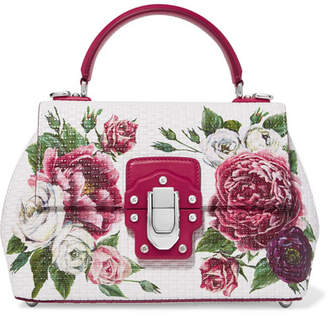 Dolce & Gabbana Lucia Floral-print Leather Tote - White