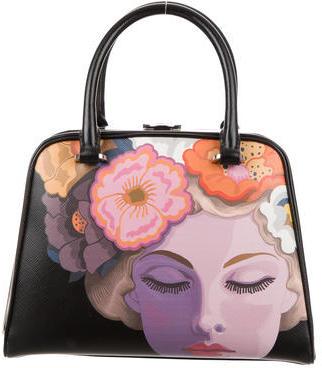 pradaPrada Girl-Print Saffiano Frame Handle Bag