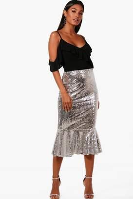 boohoo Jasmine Sequin Ruffle Hem Midi Skirt