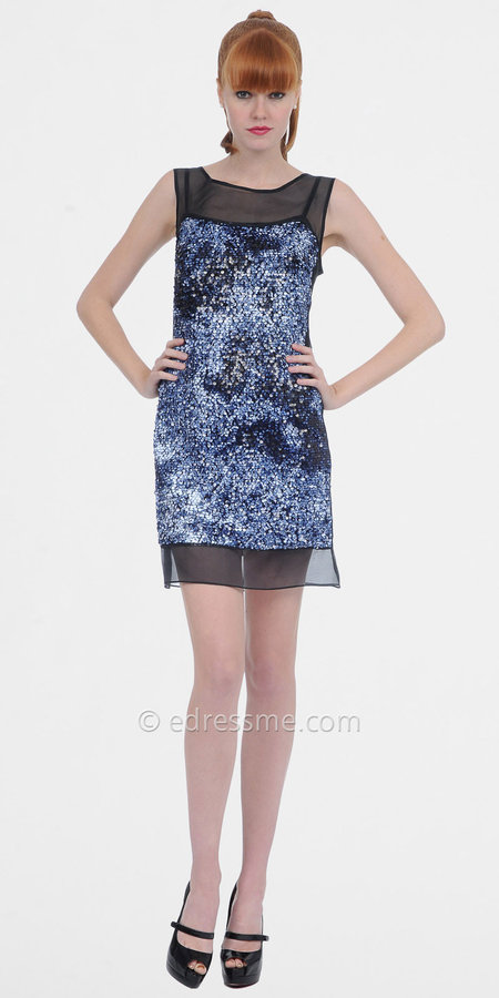 Black and Blue Sequin Dresses by Phoebe Couture