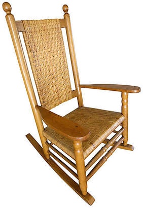 One Kings Lane Vintage Midcentury Rattan Rocking Chair - Cliffe's Edge Antiques
