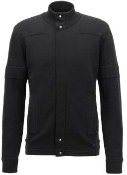 BOSS Hugo Biker-inspired knitted cardigan in Italian merino wool L Black