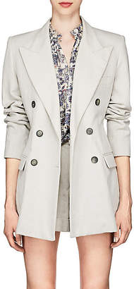 Isabel Marant Women's Kleigh Cotton-Linen Double-Breasted Blazer - White