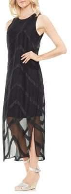 Vince Camuto Zen Bloom Sheer Chevron Maxi Dress