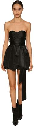 Alexandre Vauthier Off Shoulder Draped Stretch Satin Top