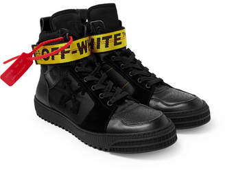 Off-White Off White Industrial Full-Grain Leather, Suede and Ripstop High-Top Sneakers - Black