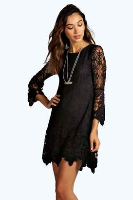 boohoo Boutique Maddie Flower Lace Long Sleeve Smock Dress $44 thestylecure.com