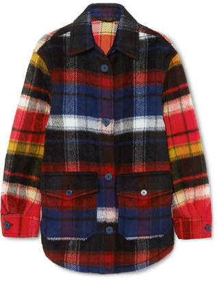 Burberry Checked Brushed Alpaca And Wool-blend Shirt - Navy