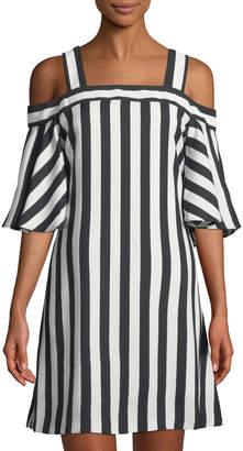 Taylor Cold-Shoulder Striped Shift Dress