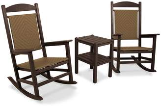 Polywood 3-piece Presidential Woven Outdoor Rocking Chair & Side Table Set
