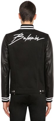 Balmain Printed Denim Jacket W/ Leather Sleeves