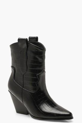 boohoo Croc Pointed Cowboy Boots