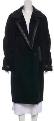 Max Mara Leather-Trimmed Long Coat