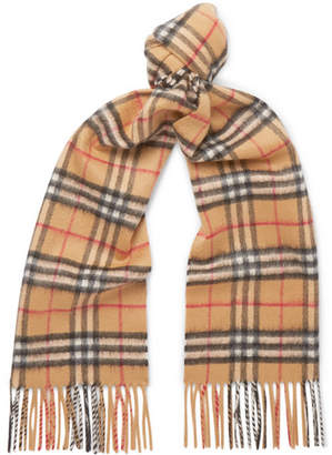 Burberry Fringed Checked Cashmere Scarf - Tan