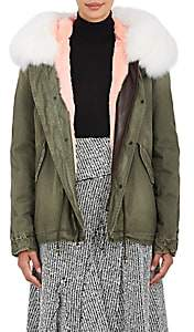 Mr & Mrs Italy Women's Fur-Lined Cotton Canvas Mini Parka - Dk. Green