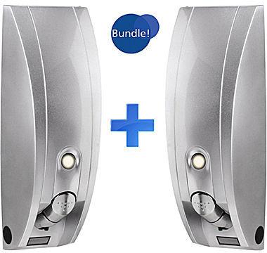 JCPenney Set of 2 Curve Silvertone Gloss Liquid Soap & Shampoo Dispensers