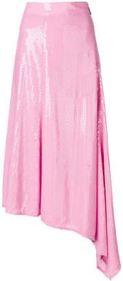 MSGM asymmetrical sequinned skirt
