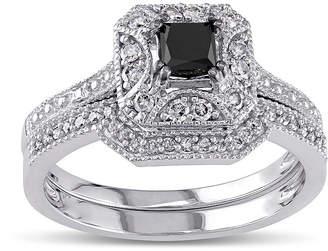 Black Diamond MODERN BRIDE Midnight 5/8 CT. T.W. White and Color-Enhanced 10K White Gold Vintage-Style Bridal Set