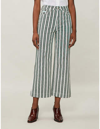 ALEXACHUNG Striped high-rise wide-leg jeans