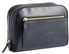 Genuine Leather Zip Toiletry Bag