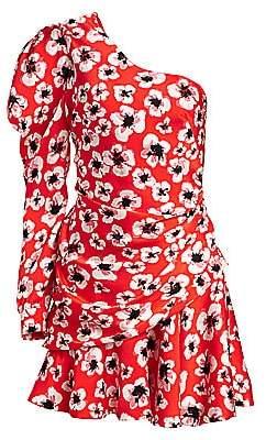 Borgo de Nor Women's Christina Floral One-Sleeve Side Ruche Mini Dress