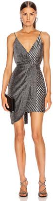 PatBO Metallic Mesh Mini Wrap Dress in Pewter & Silver | FWRD