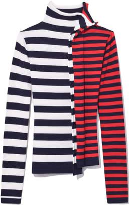 Monse Striped Half and Half Turtleneck in White/Red/Navy