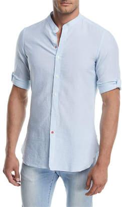Isaia Mandarin-Collar Striped Seersucker Shirt