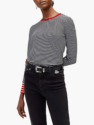 Warehouse Contrast Stripe Top, Red/Multi